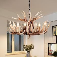 vintage resin antler chandelier deer horn 6 lights retro regular living room big