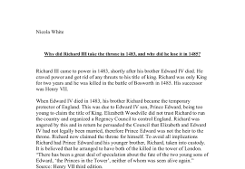 why did richard iii take the throne in and why did he lose  document image preview