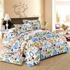 boys full size bedding sets orange blue and white colorful zoo park jungle animal lion elephant crocodile print teen girls and boys full queen size bedding