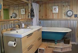 basement bathrooms ideas with wood paneling and freestanding bathub also corrugated metal wainscoting and step stool