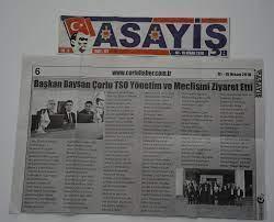 Başkan Baysan Çorlu TSO Yönetim ve Meclisini Ziyaret Etti- 01-15 Nisan  2018- Asayiş (Çorlu haber) | Çorlu Ticaret ve Sanayi Odası Resmi İnternet  Sitesi