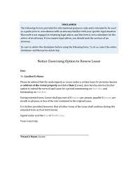 Rent Notice Letter Tenants Notice Exercising Option To Renew Lease
