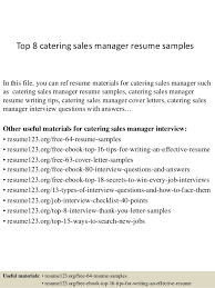 Area Sales Manager Resume Top 8 Catering Sales Manager Resume Samples