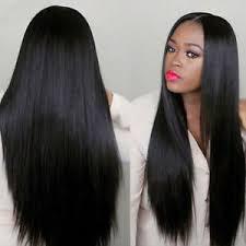 Détails Sur Mode 75cm Femme Long Droit Noir Perruque Cheveux Fête Coiffure Costume