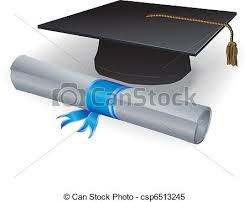 graduation mortar and diploma blue ribbon clipart vector  graduation mortar and diploma vector