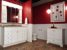 Furniture Wonderful Bathroom Design With Red Wall And Bertch Cabinets
