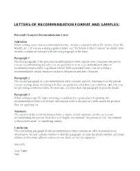 Example Personal Reference Letter Letter Of Recommendation