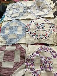 34 hole in the barn door quilt blocks muslin feedsack vine antique nice