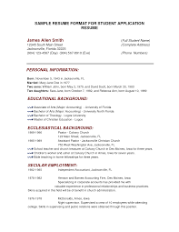 Sample Resumes For College Applications Resume Ordinary Format