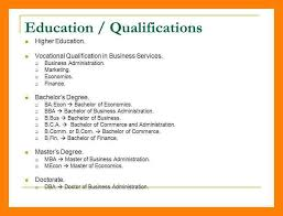 Qualification In Resume Educational Qualification In Resume
