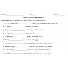 Irregular Preterite Worksheet Free Worksheets Library | Download ...