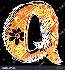 graffiti alphabet, hand drawn letter Q isolated on black background