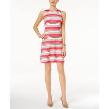 michael michael kors petite madison striped fit flare dress electric pink
