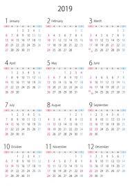 A4縦2019年1月12月の年間カレンダー02 イラスト無料かわいい