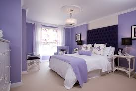 captivating monochromatic purple bedroom design with purple painted wall along white covered bedding and purple blanket captivating white bedroom