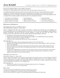 Resume Objective Sample For Hotel And Restaurant Management Fresh