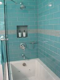 aqua 4 x 12 large glass subway tile shower enclosure