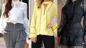 fashion <b>women 2019 long sleeves</b> stylish neck chiffon blouse/shirts ...