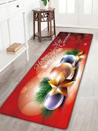 star print flannel nonslip bath rug red w16 inch l47 inch