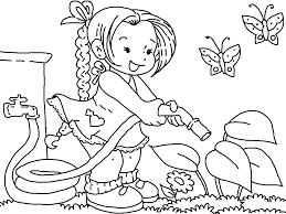Cute Garden Flowers Coloring Page For Kids, Flower Pages ... Image ...