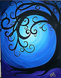 curly tree in the night