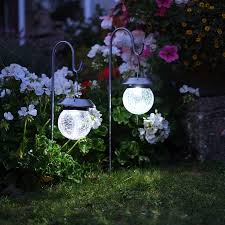 solar hanging globe stake lights with shepherd crook best solar garden lights manufacturer in china