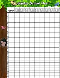 sunday school attendance chart sunday school attendance chart templates forms charts printable