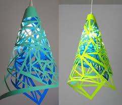 diy triangle hollow ou paper lamp shade crafts home decor diy paper craft