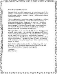 Welcome Letter To Parents Letter To Parents Letter To