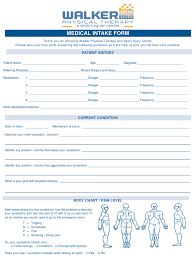 Medical Intake Form Walker Physical Therapy Sports Injury