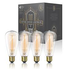 edison table lamp vintage home lighting. Vintage Edison Light Bulb 60W (4 Pack) - Dimmable Exposed Filament Incandescent Clear ST58 Teardrop Squirrel Cage Style E26 Medium Base 2700K 210 Table Lamp Home Lighting R