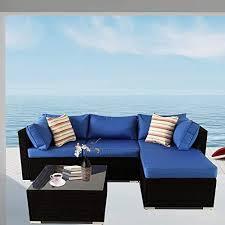new patio sofa 5 piece black pe rattan