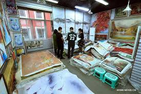 s china s village famous for oil painting facsimile industry