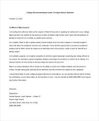 sample letter of recommendation for college student free 8 sample college letters of recommendation in pdf doc