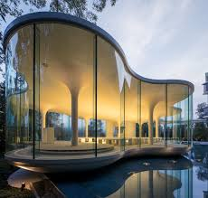 Modern Chapel Design Minimalist Curved Glass Cloud Of Luster Wedding Chapel In