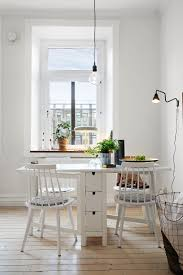 white dining room with ikea norden table