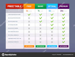 Stock Comparison Chart Pricing Table Chart Price Plans Checklist Prices Plan