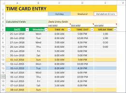 Timecard In Excel Employee Timesheet Template Excel Time Card Work Hours