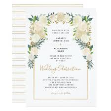 celebration invite trendy white floral peonies wedding celebration invitation