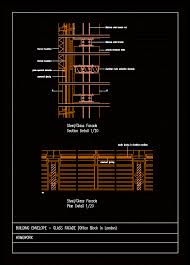 glass facade detail in autocad