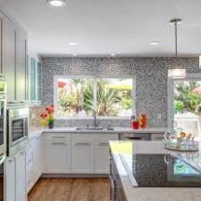 Gray Mosaic Tile Accent Wall in Contemporary Kitchen