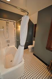 l shaped shower curtain rod bathroom traditional with baseboards black and white image by ventana construction llc