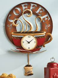 coffee cup theme kitchen wall clock