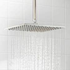 juno ultra brushed nickel shower system with square rain shower head brushed nickel rain shower system