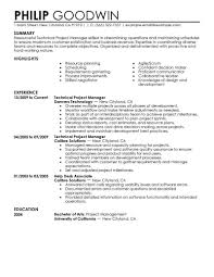 Housekeeping Supervisor Resume Lovely Technical Project Manager