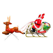 Vintage Light Up Santa And Reindeer The Best Lighted Blow Mold Christmas Decorations