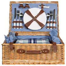 Best Choice Products 4 Person Wicker Picnic Basket W/ Cutlery, Plates,  Glasses,