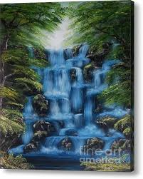 blue waterfall oil painting canvas wall