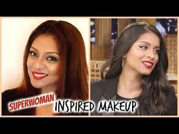 lilly singh iisuperwomanii inspired makeup look red lips glam tutorial