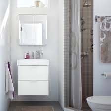 white bathroom cabinets. Small Bathroom With A Grey Shower, White GODMORGON Washbasin And Mirror Cabinets, SUMMELN Cabinets K